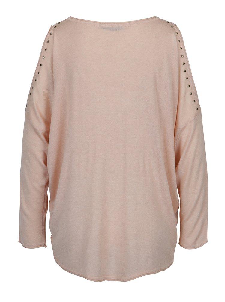 Světle růžový svetr s průstřihy na rukávech ONLY Sky