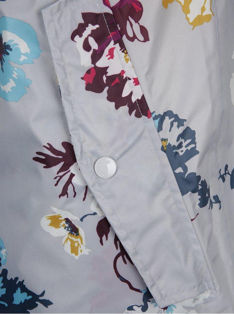 Jacheta impermeabila gri cu print floral Tom Joule