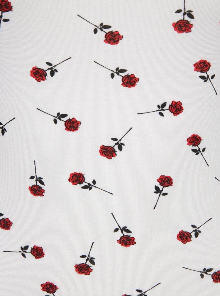 Krémové květované tílko se šněrováním TALLY WEiJL