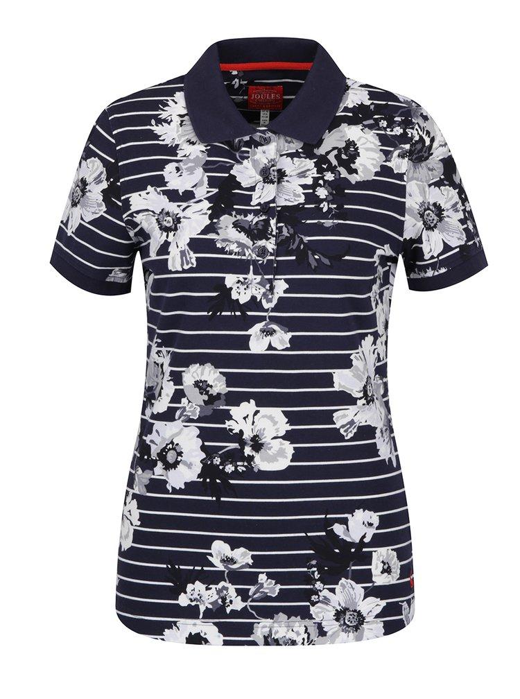 Tricou polo bleumarin cu dungi și print floral Tom Joule