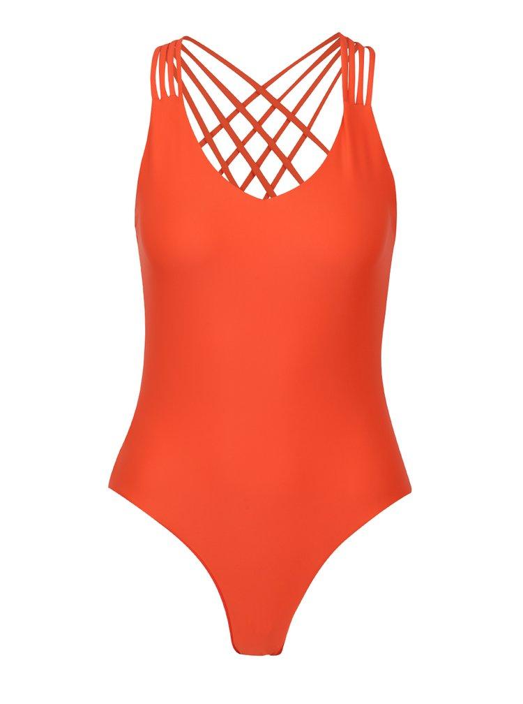 Oranžové jednodílné plavky s pásky na zádech Y.A.S  Sage