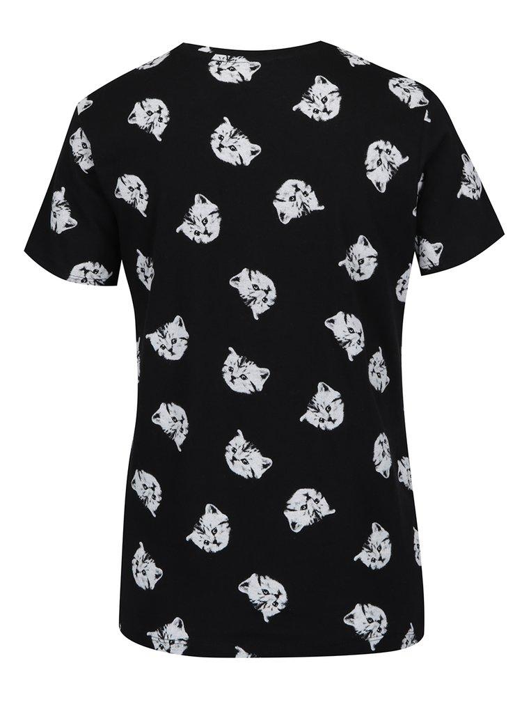 Tricou negru cu imprimeu cu pisicute TALLY WEiJL