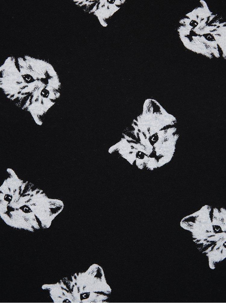 Černé tričko s potiskem koček TALLY WEiJL