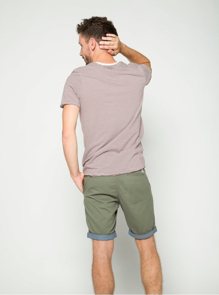 Khaki chino kraťasy s detaily Jack & Jones Peek