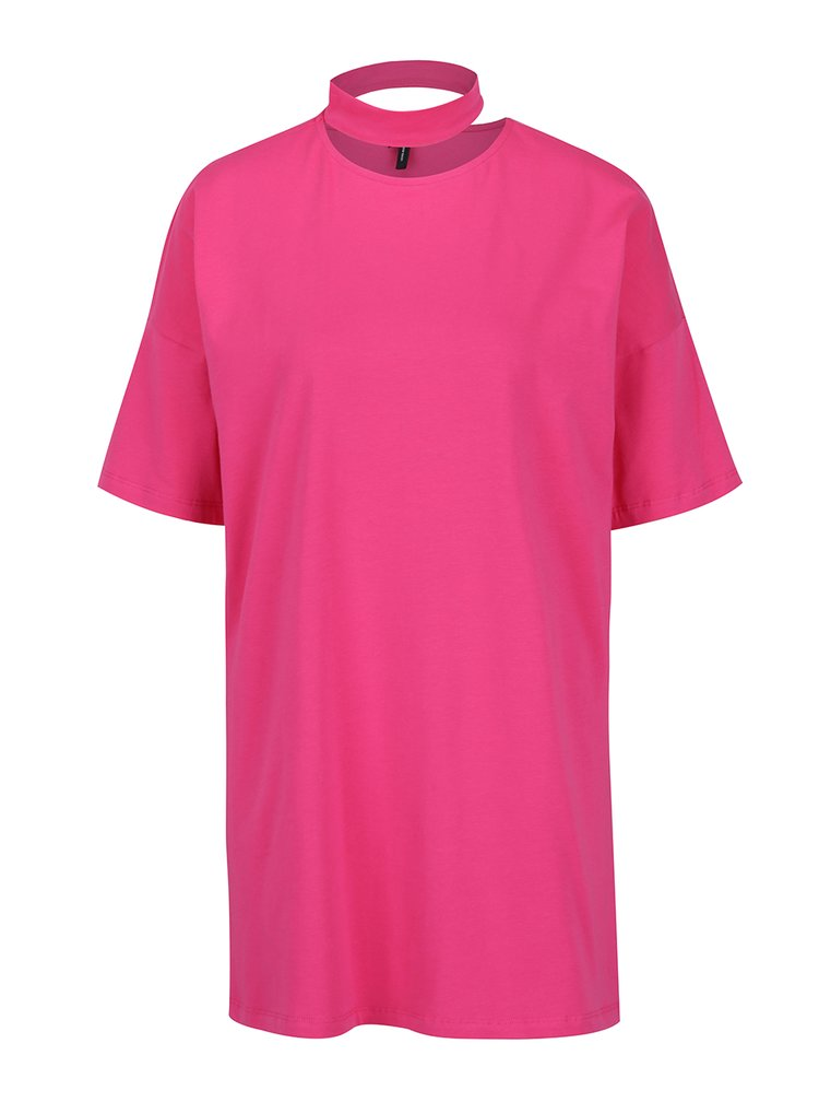 Růžové oversize tričko s chokerem VERO MODA Jelica
