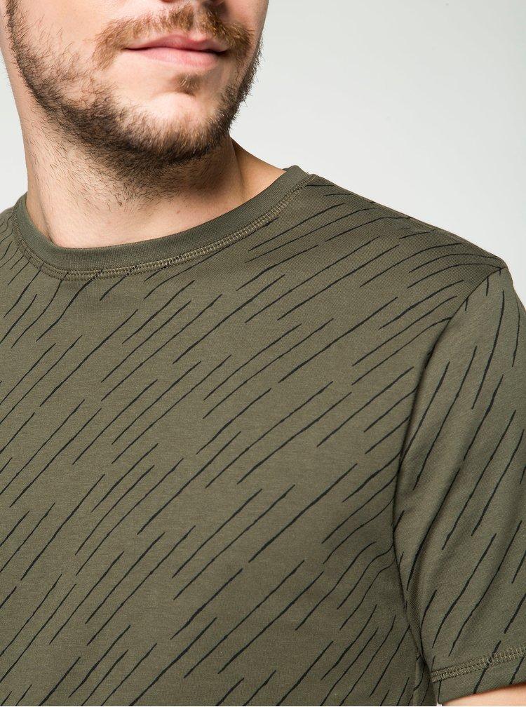 Khaki vzorované triko ONLY & SONS Huxie