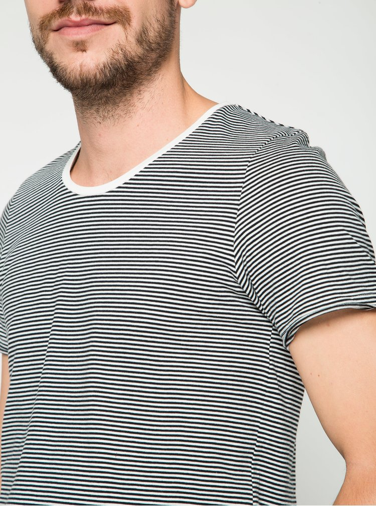 Tricou alb&negru Jack & Jones Insta cu model in dungi