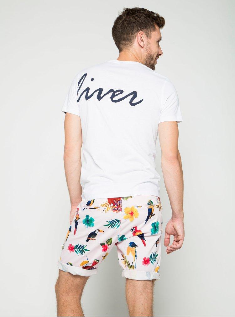 Bílé pánské slim fit triko s potiskem na přední i zadní straně s.Oliver