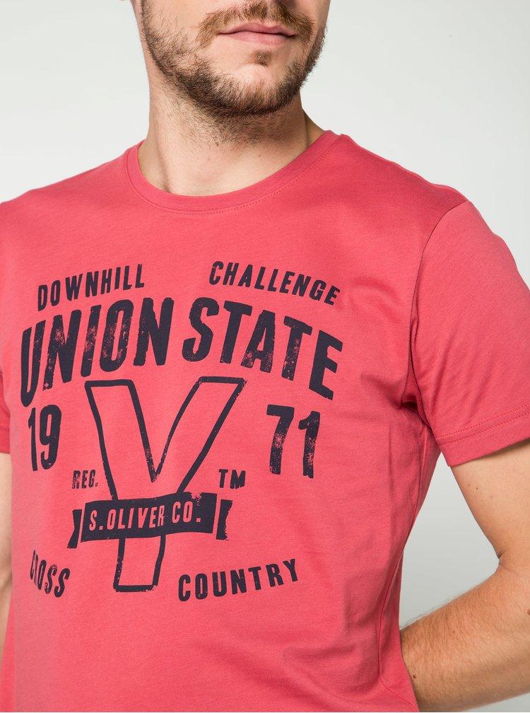 Tmavě růžové pánské triko s potiskem s.Oliver