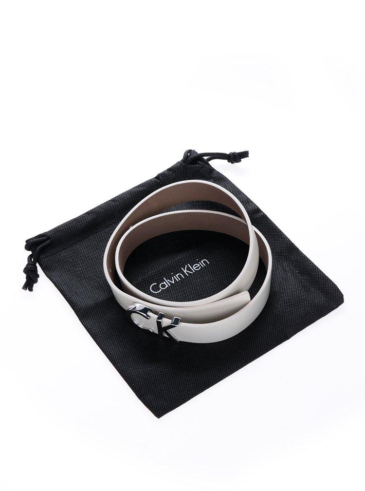Krémový dámský kožený pásek s ozdobnou sponou Calvin Klein Jeans Standalone