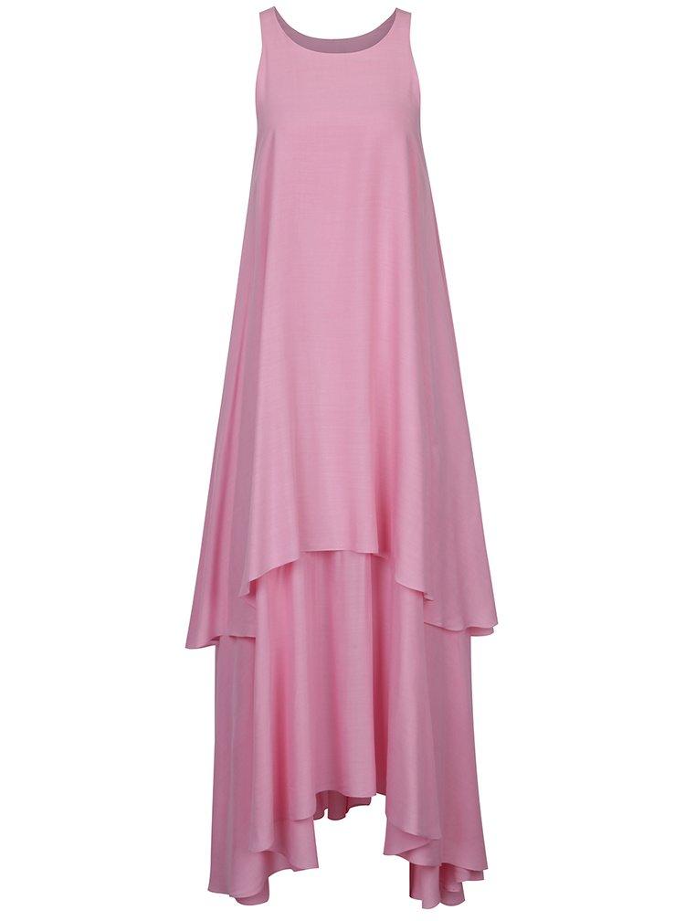 Růžové asymetrické volné maxišaty s příměsí hedvábí Aer Wear