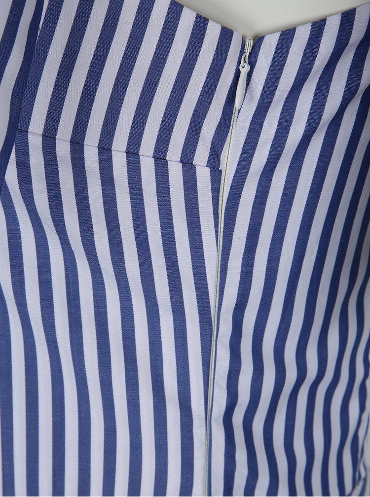 Modro-bílé pruhované asymetrické midišaty Aer Wear