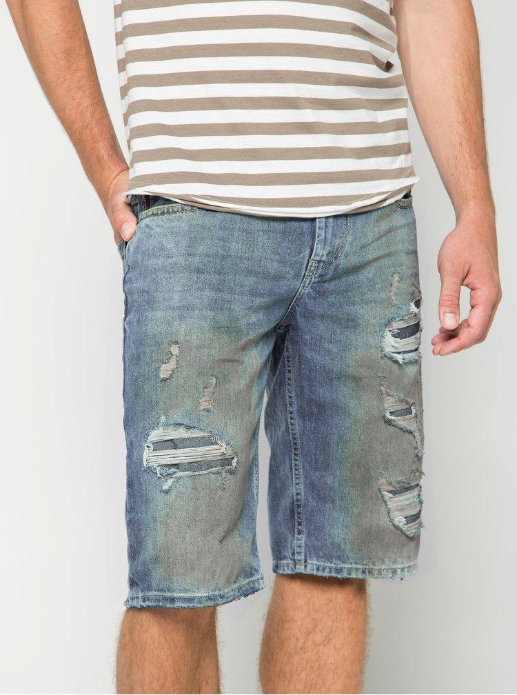 Modré pánské džínové kraťasy s potrhaným efektem s.Oliver