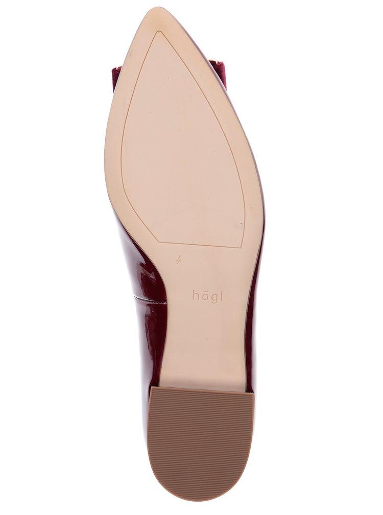 Vínové kožené lesklé baleríny se sametovou přezkou Högl