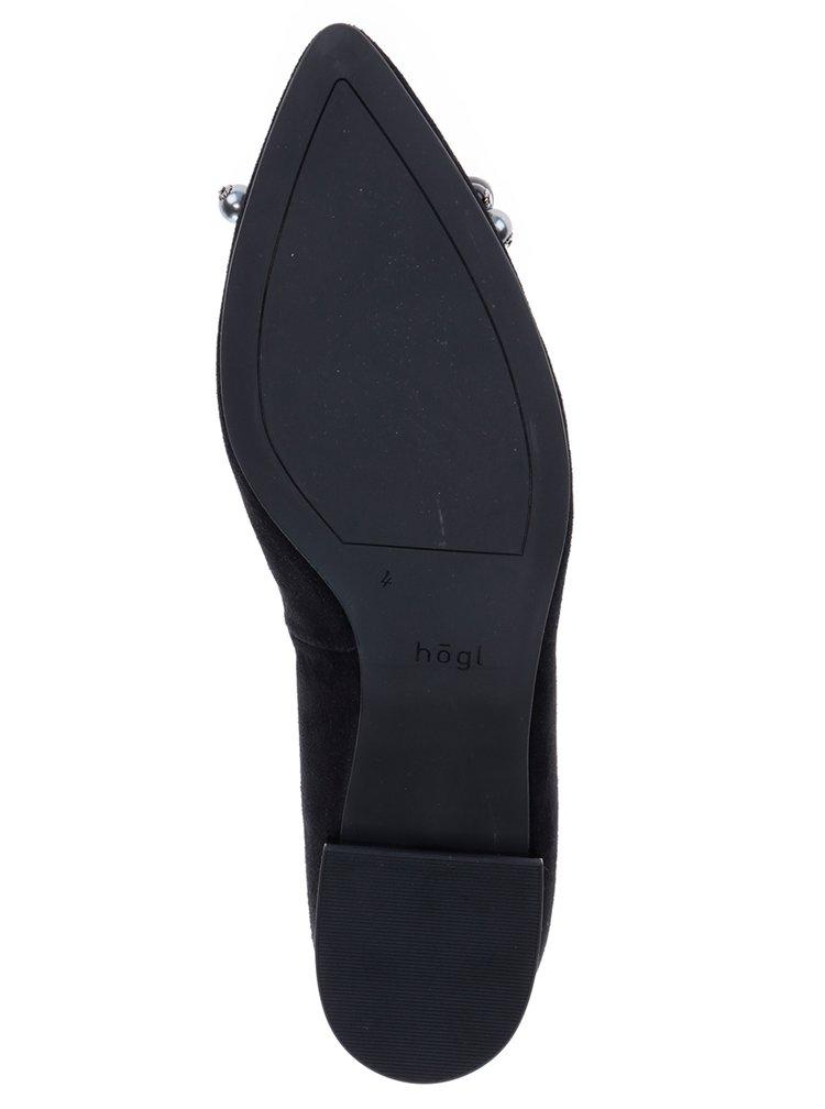 Černé kožené baleríny v semišové úpravě s ozdobou Högl