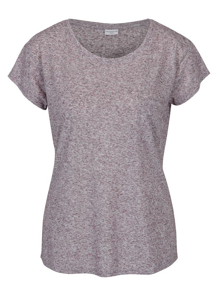 Tmavě fialové žíhané tričko s příměsí lnu Jacqueline de Yong Bolette