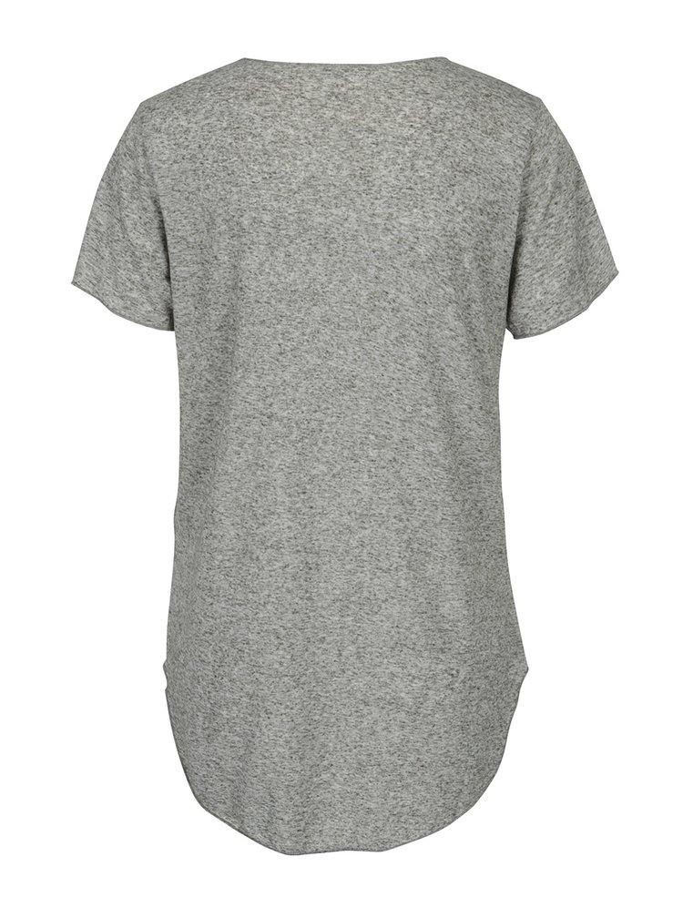 Khaki žíhané tričko s příměsí lnu Jacqueline de Yong Linette