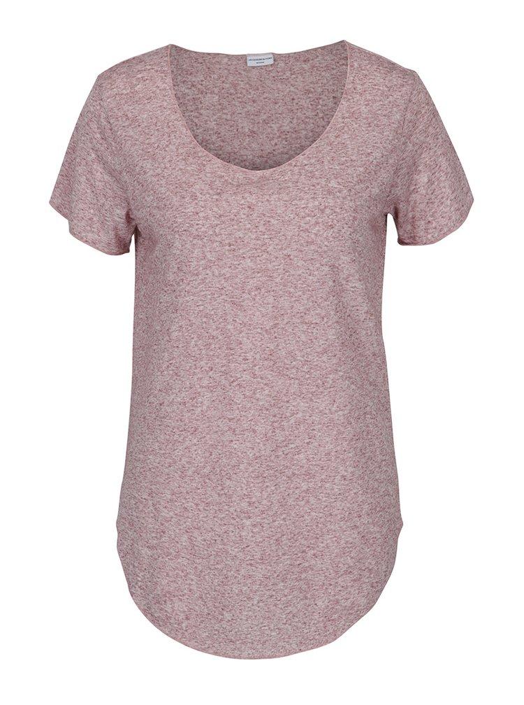 Vínové žíhané tričko s příměsí lnu Jacqueline de Yong Linette