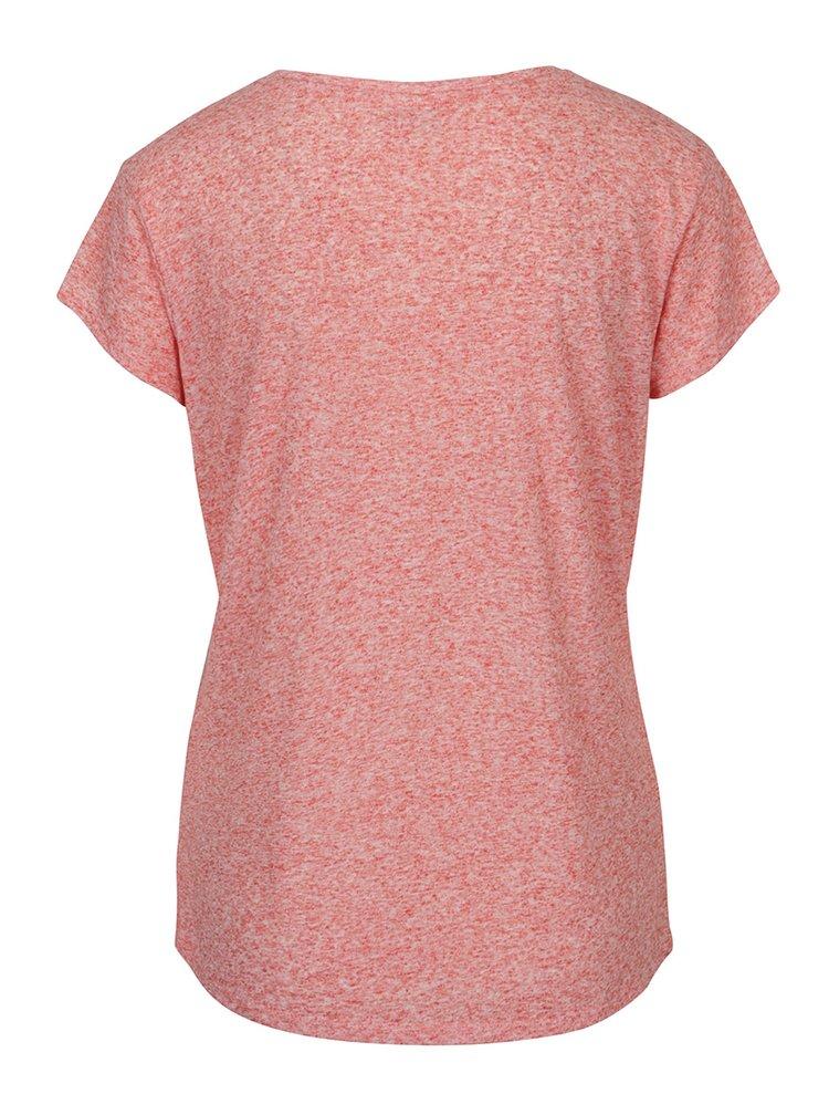 Koralové melírované tričko s prímesou ľanu Jacqueline de Yong Bolette