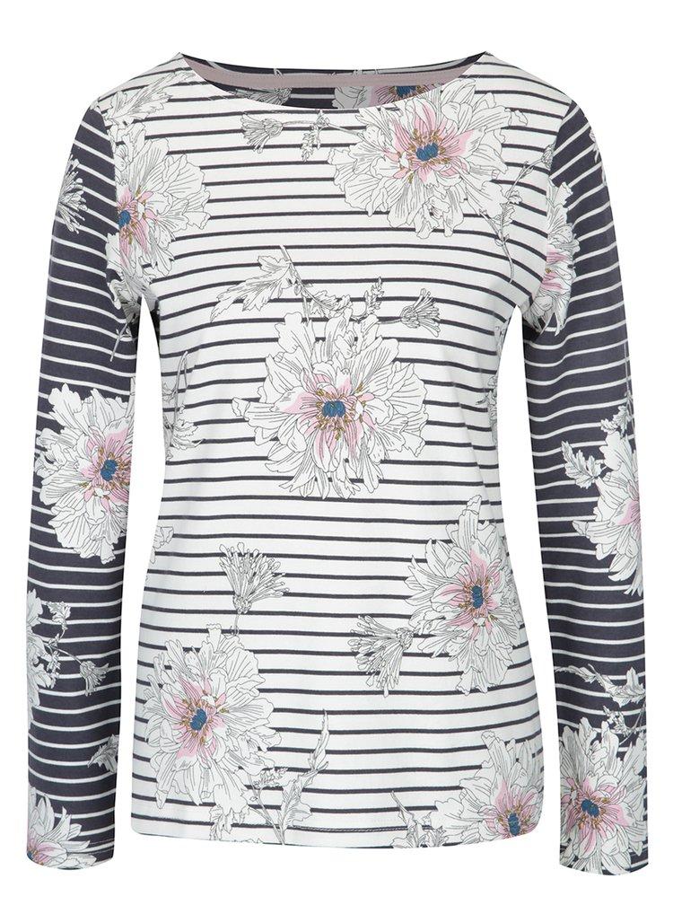 Bluză crem cu dungi albastre și flori pentru femei - Tom Joule Harbour