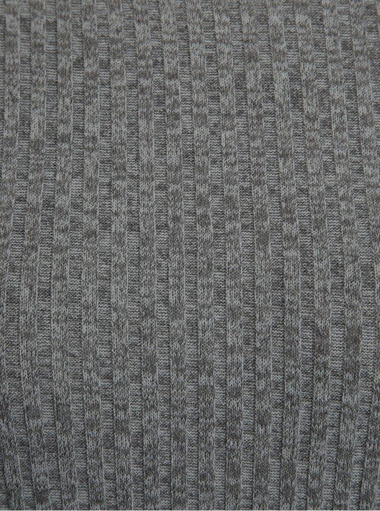 Šedý žíhaný žebrovaný svetr Jacqueline de Yong Mei