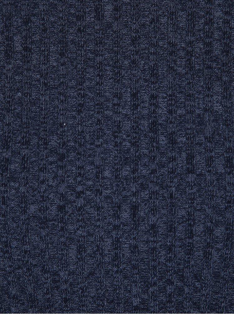 Tmavomodrý melírovaný rebrovaný sveter Jacqueline de Yong Mei