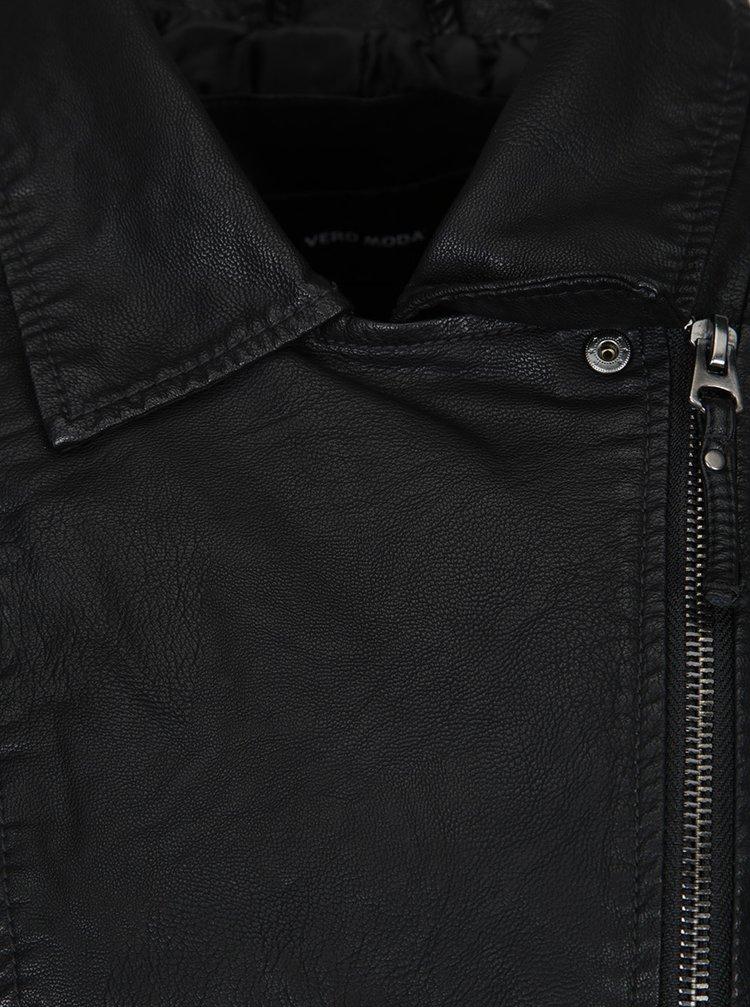 Černý koženkový křivák VERO MODA Taylor