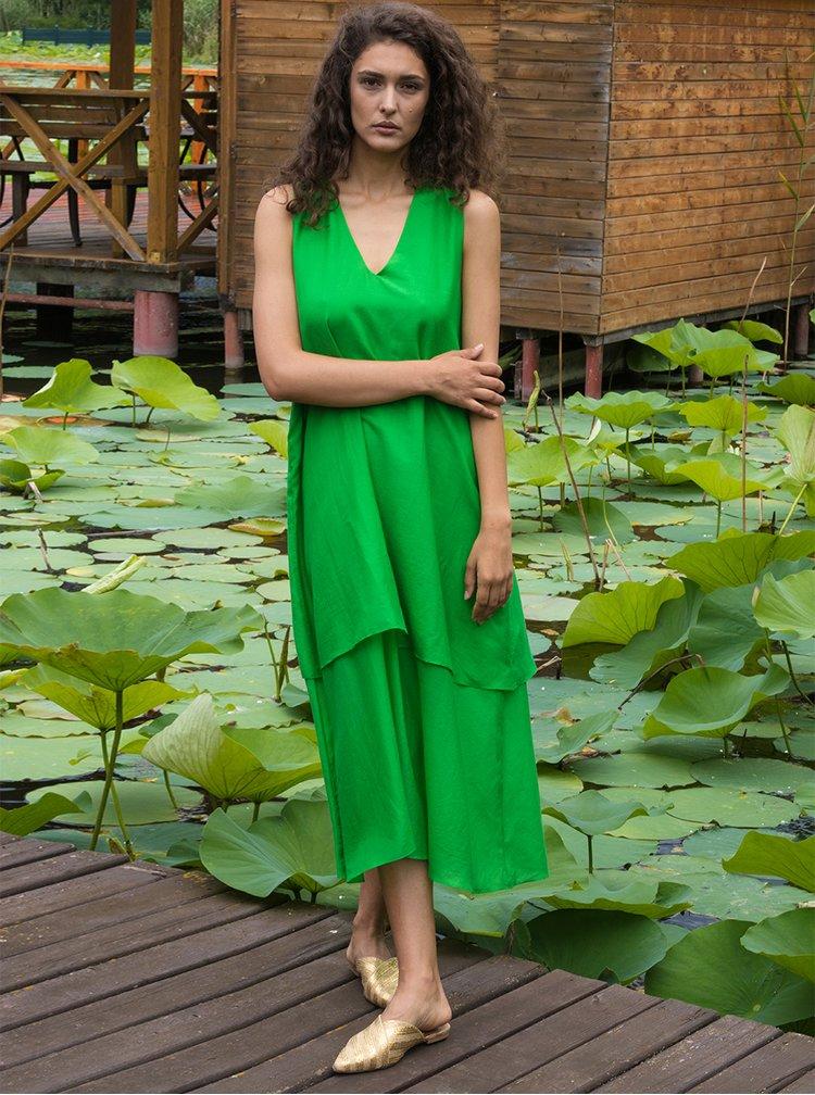 Zelené volné midišaty s příměsí hedvábí Aer Wear