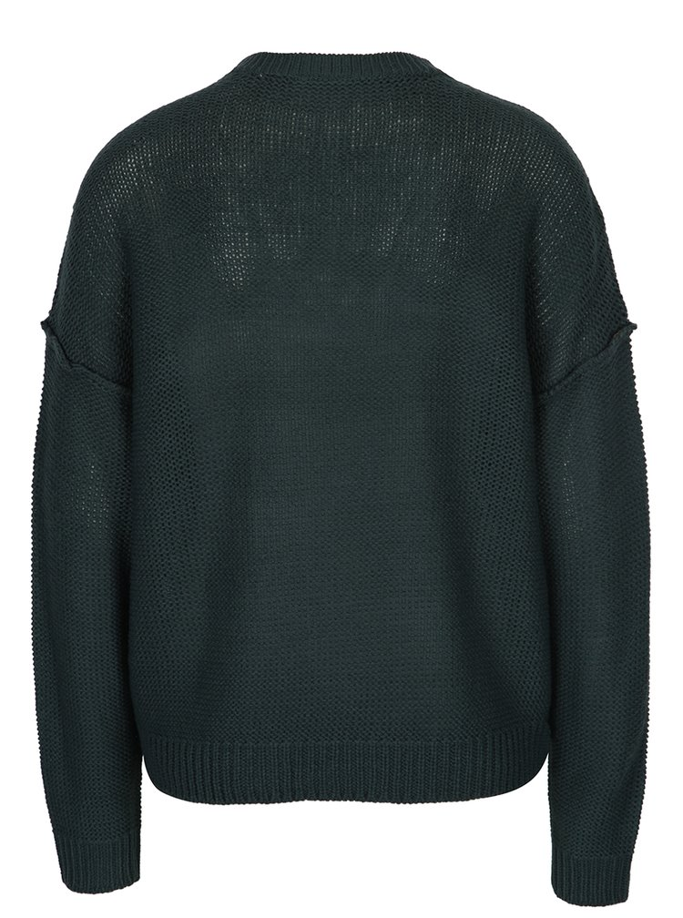 Tmavě zelený svetr s véčkovým výstřihem Noisy May Verona