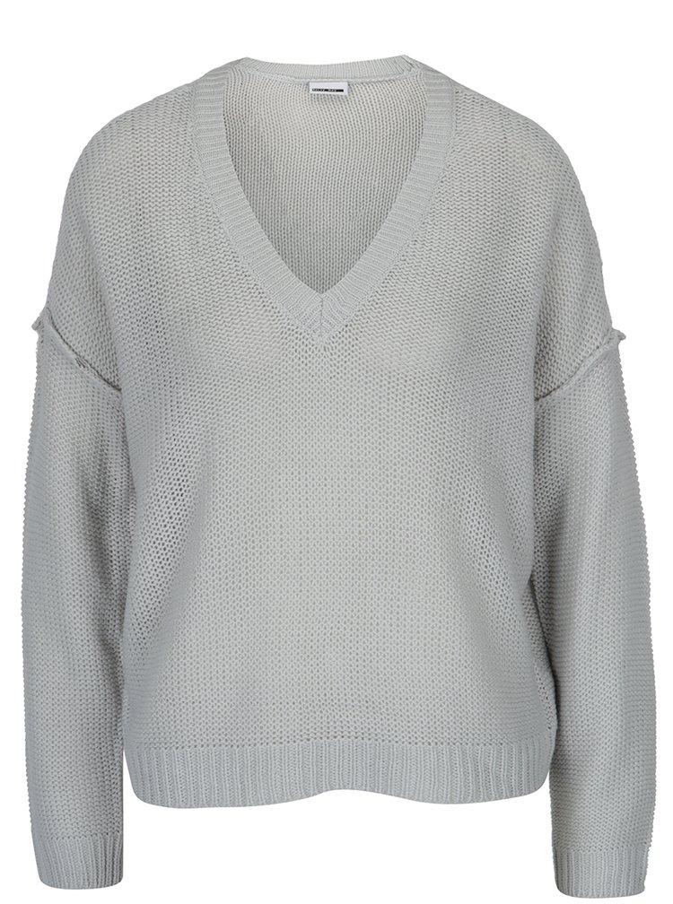 Šedý svetr s véčkovým výstřihem Noisy May Verona