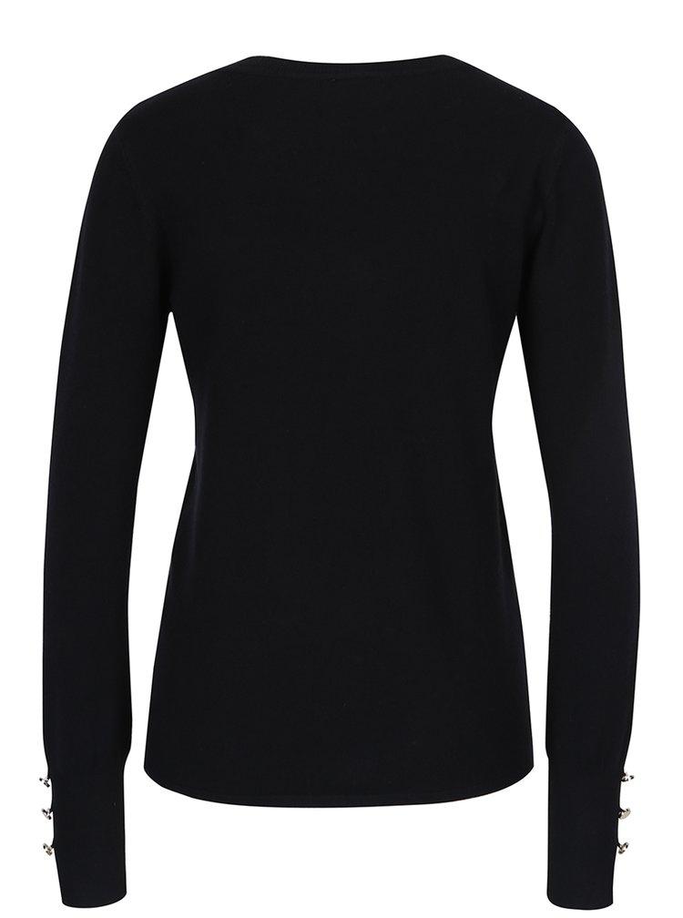 Černý svetr s véčkovým výstřihem VERO MODA Happy