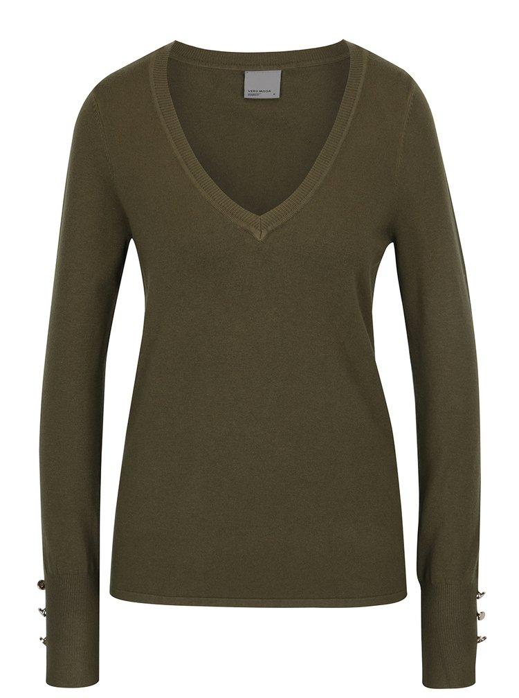 Zelený svetr s véčkovým výstřihem VERO MODA Happy