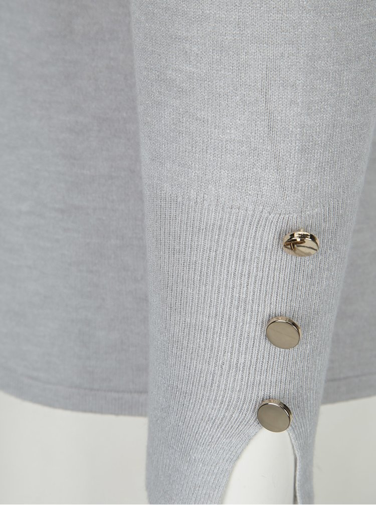 Světle šedý svetr s véčkovým výstřihem VERO MODA Happy