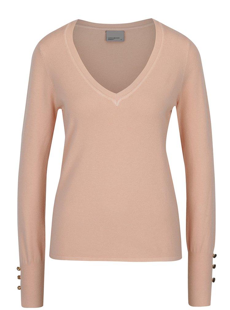 Meruňkový svetr s véčkovým výstřihem VERO MODA Happy