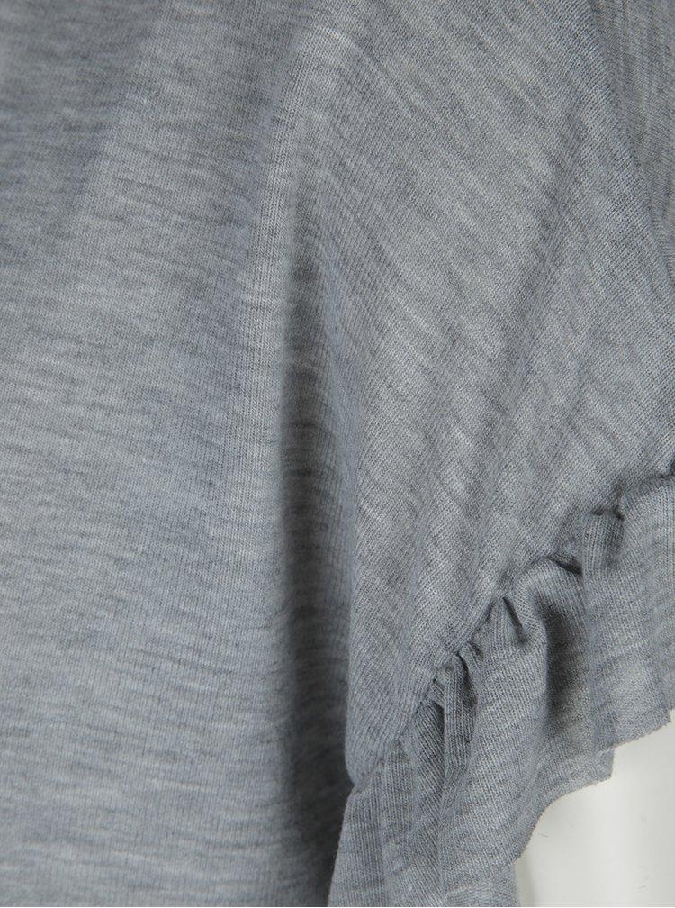 Šedé tričko s volánky na rukávech VERO MODA Elora