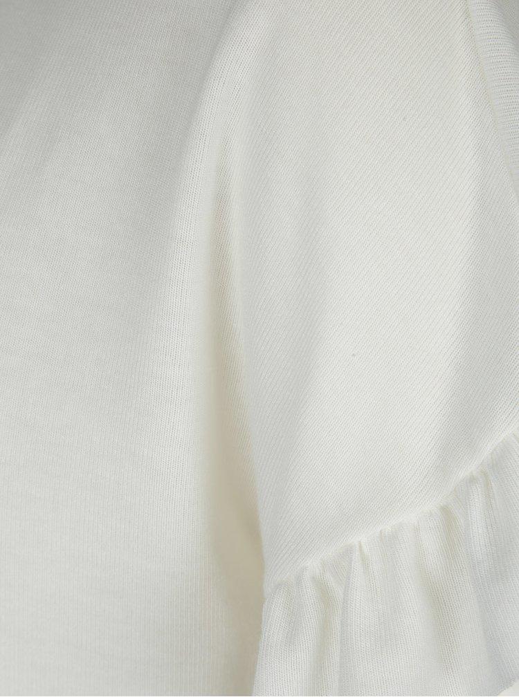 Krémové tričko s volánky na rukávech VERO MODA Elora