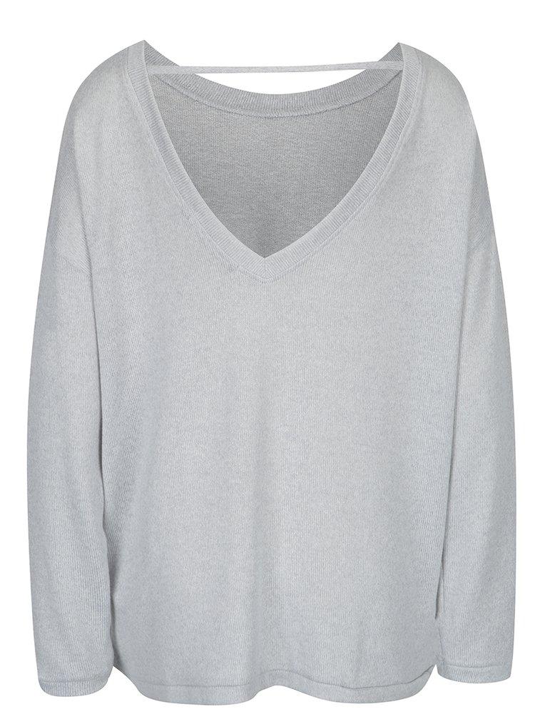 Světle šedý žíhaný svetr s páskem na zádech VERO MODA Sadie