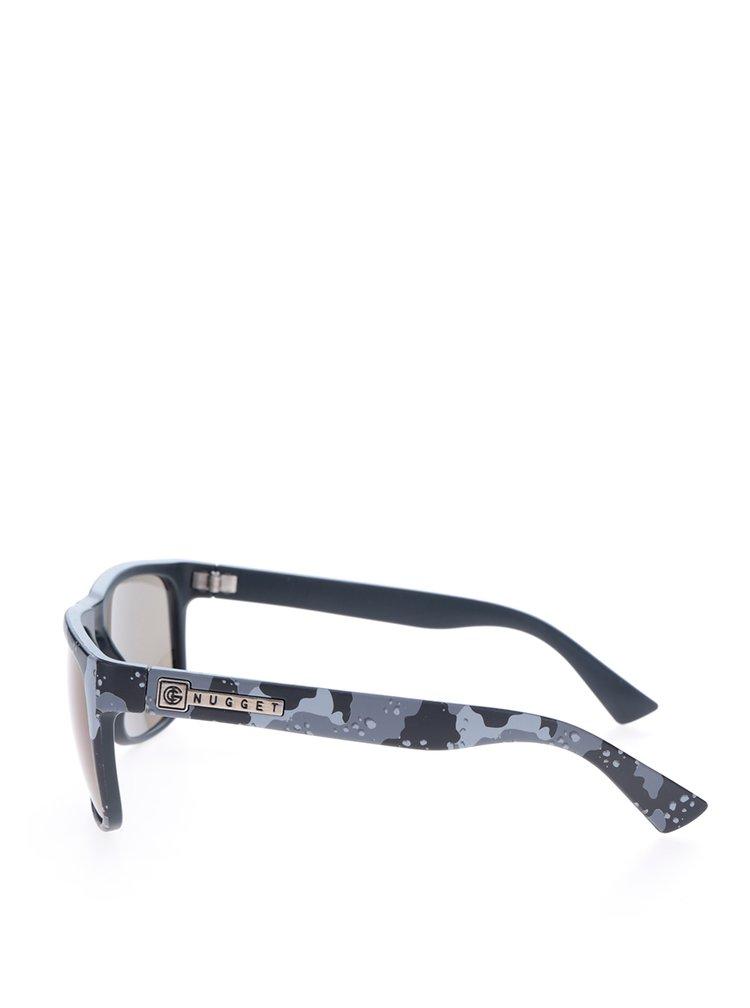 Šedo-černé pánské sluneční brýle s maskáčovým vzorem NUGGET Shell