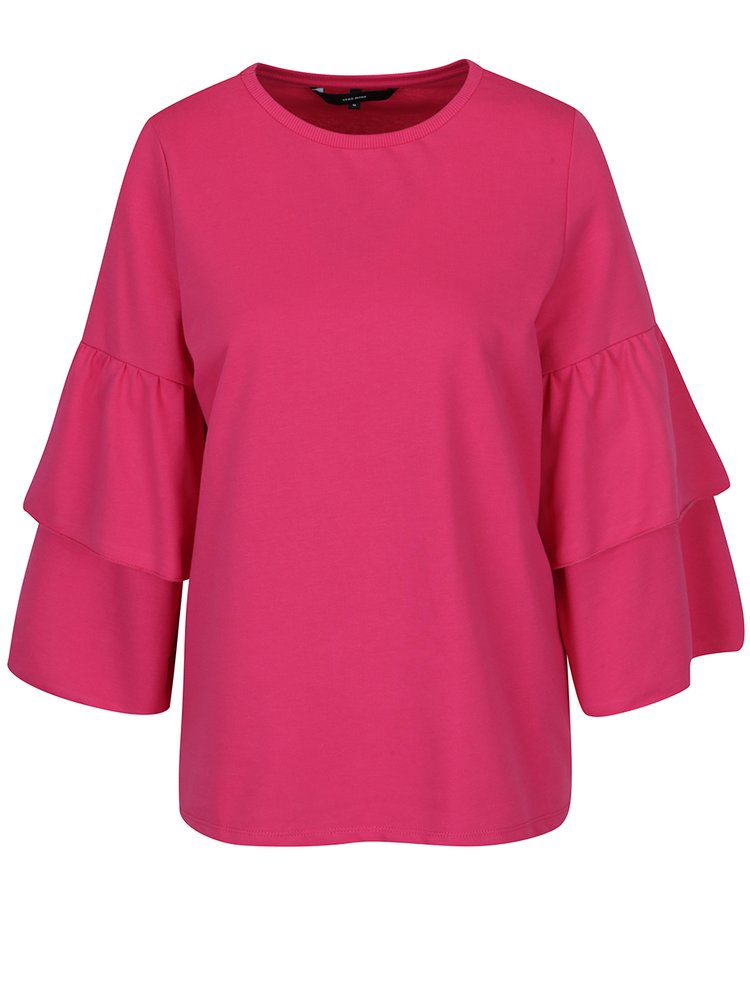 Bluza roz cu volane pe maneci VERO MODA Vippy