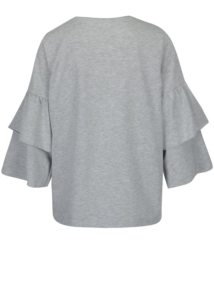 Bluză gri melanj cu mâneci clopot VERO MODA Vippy