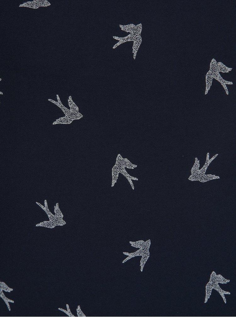 Tmavě modrý top s ptáčky VERO MODA Mixy