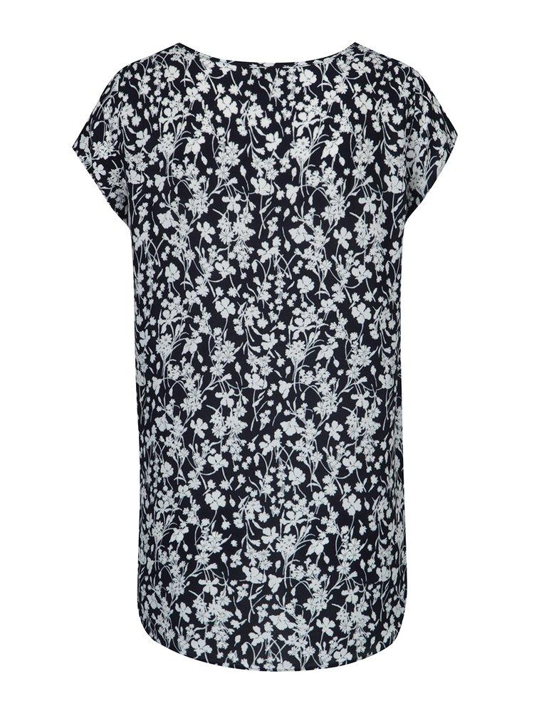 Tricou lejer bleumarin cu print floral VERO MODA Mixy