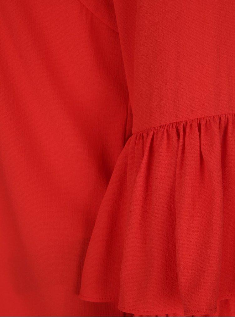 Červená halenka s volány na rukávech VERO MODA Dellie