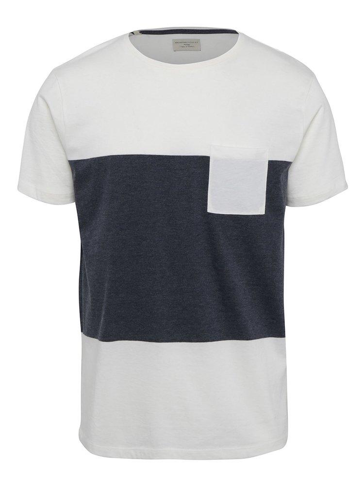 Šedo-krémové tričko s náprsní kapsou Selected Homme Peter