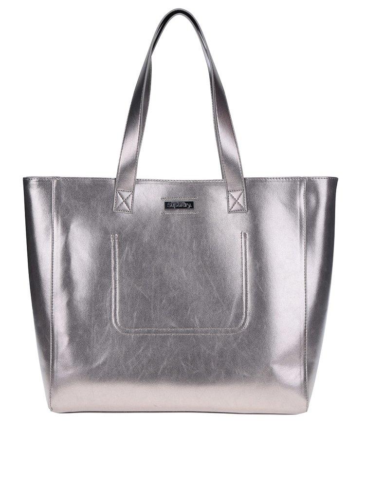 Metalický shopper ve stříbrné barvě s pouzdrem 2v1 Superdry Elaina