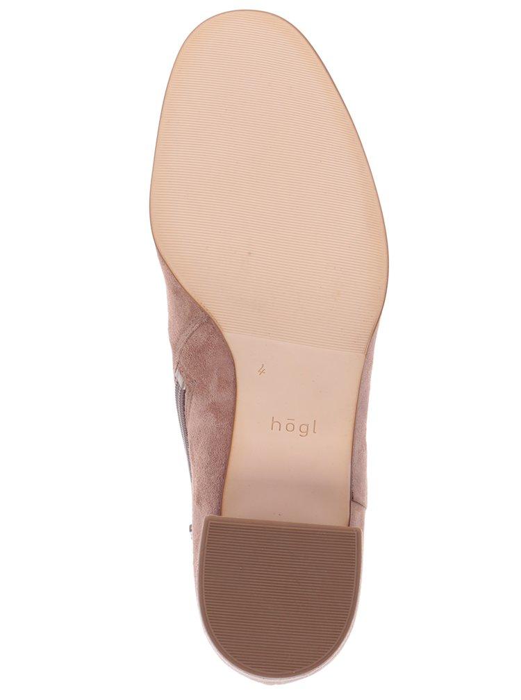 Hnědé kožené kotníkové boty v semišové úpravě Högl