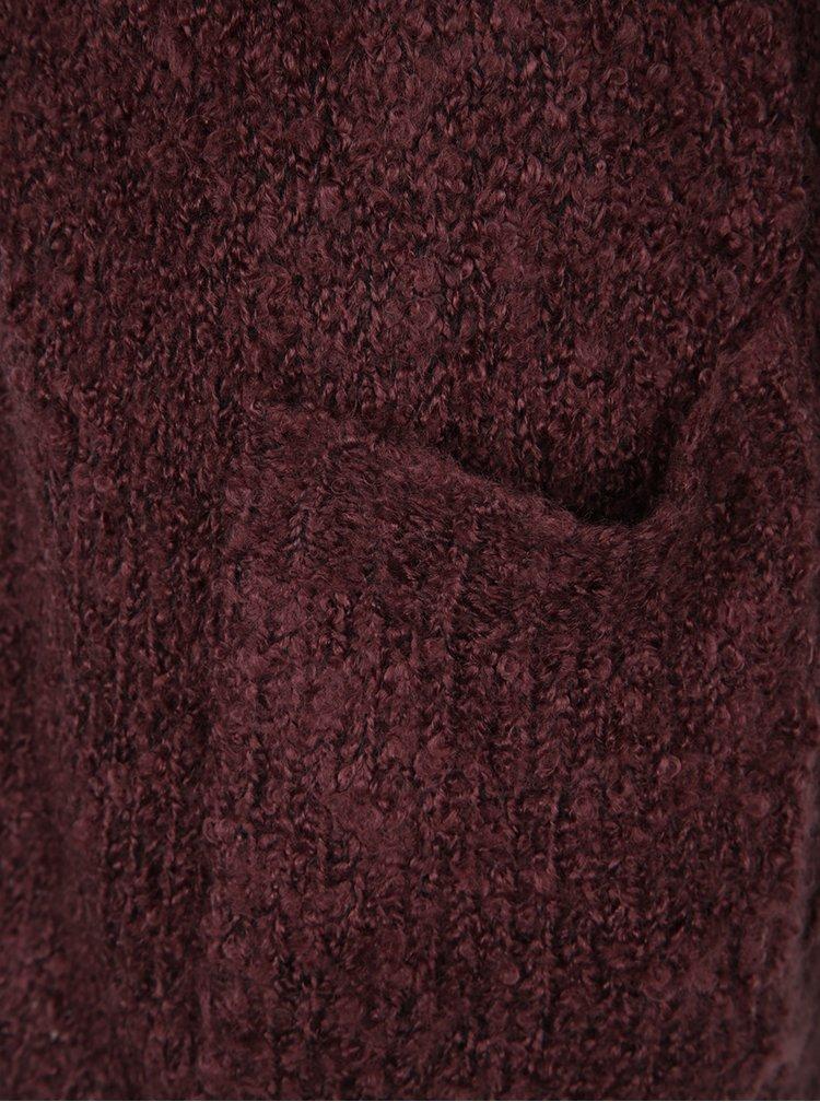Cardigan lung visiniu din material boucle Jacqueline de Yong Rio