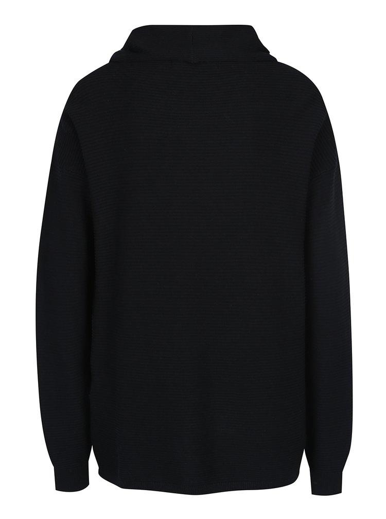 Černý svetr s asymetrickým zapínáním VERO MODA Anna
