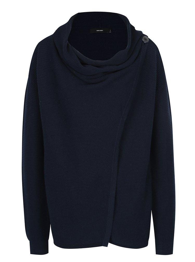 Tmavě modrý svetr s asymetrickým zapínáním VERO MODA Anna