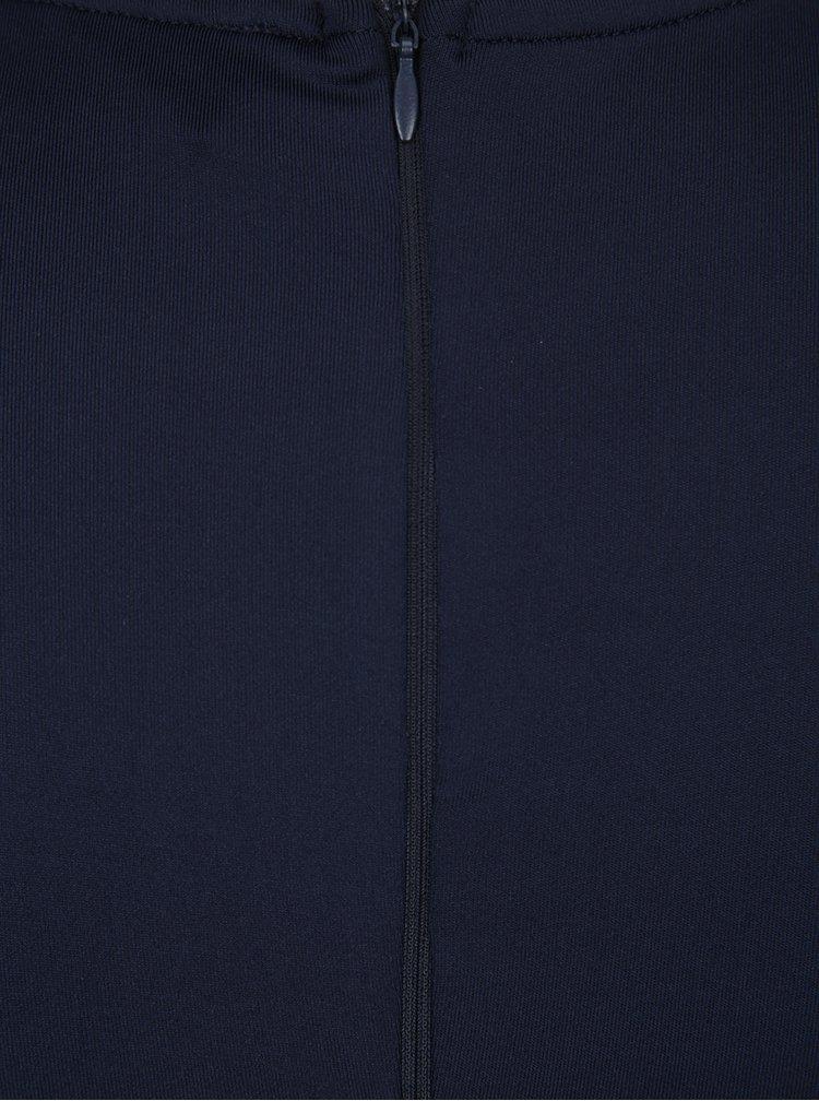 Tmavě modré maxišaty s krajkou a průsvitným sedlem AX Paris